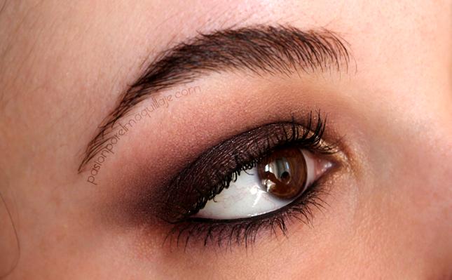 Look de ojos morado y dorado